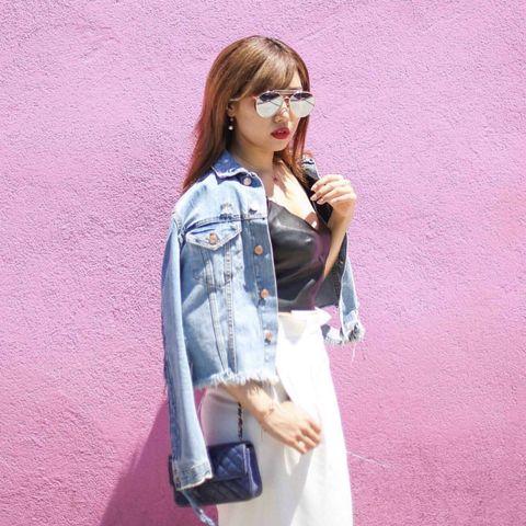Clothing, Denim, Jeans, Pink, Outerwear, Shoulder, Fashion, Street fashion, Jacket, Textile,