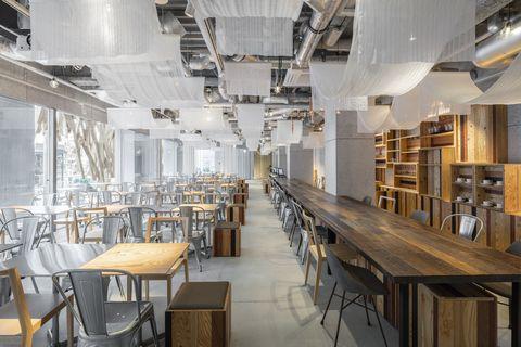 Building, Interior design, Room, Furniture, Architecture, Table, Restaurant, Ceiling, Wood, Floor,