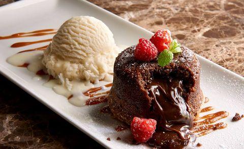 Dish, Food, Cuisine, Frozen dessert, Dessert, Ingredient, Ice cream, Chocolate brownie, Chocolate cake, Flourless chocolate cake,