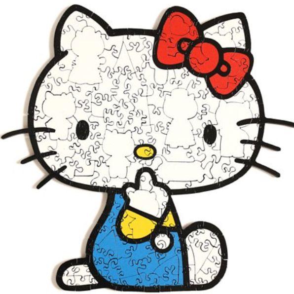 白色hello kitty帶著紅色蝴蝶結穿著藍色衣服的拼圖