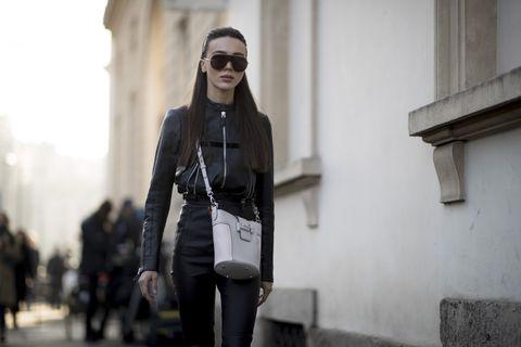 Street fashion, Eyewear, Clothing, Fashion, Jacket, Leather, Snapshot, Leather jacket, Sunglasses, Cool,