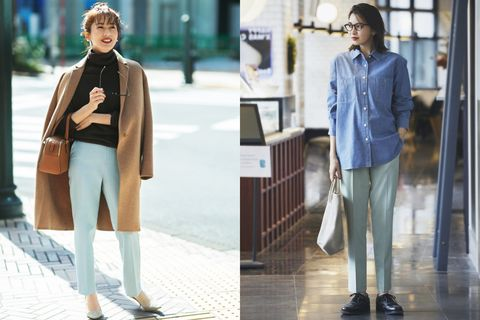 Uniqlo EZY九分褲搭配襯衫、大衣一秒穿出工作的「微正式」穿搭。