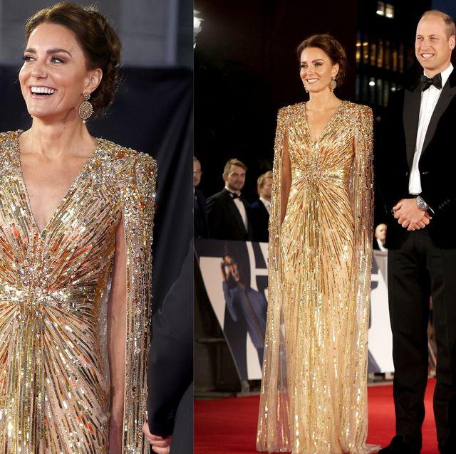凱特王妃現身《007生死交戰》首映紅毯美翻!「王妃愛牌」金色斗篷禮服被熱搜 穿搭比龐德女郎還搶眼