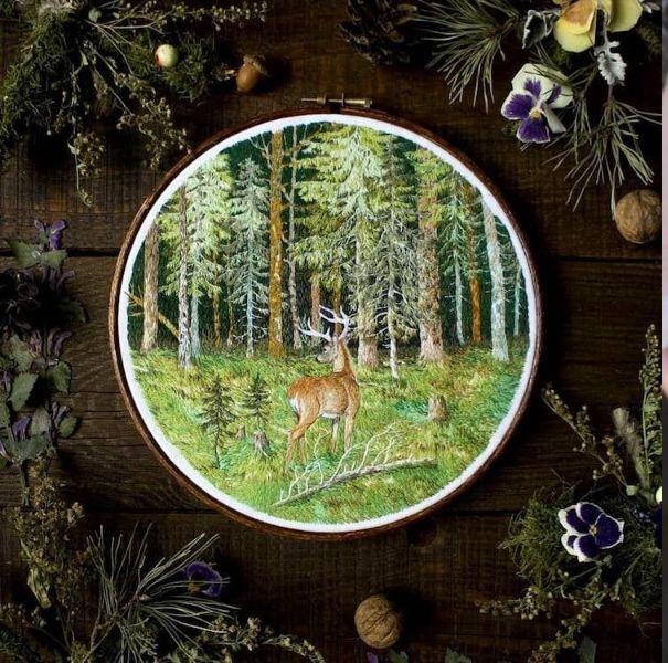 森林帶著走!立陶宛藝術家jūra gric用針線打造細膩森林系刺繡