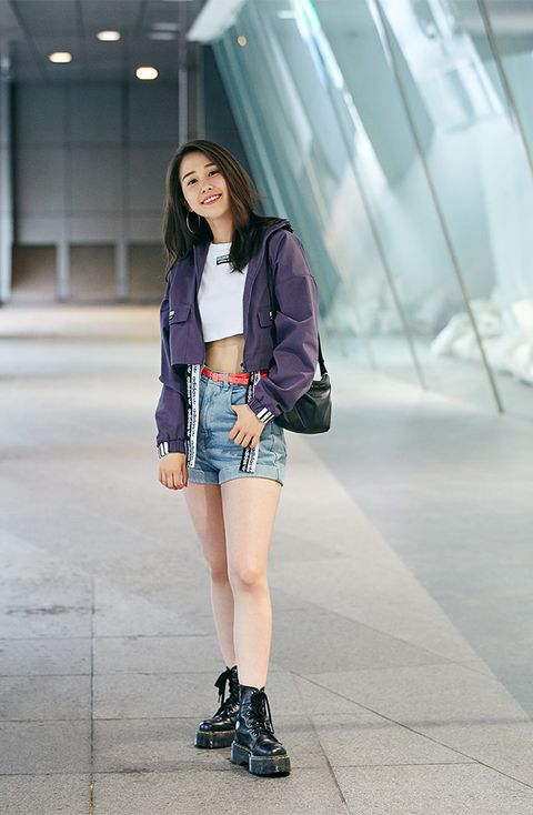 Clothing, Street fashion, Shorts, Footwear, Fashion, Shoulder, Denim, Outerwear, Snapshot, Jacket,