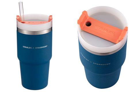 藍色與橘色的冷水杯