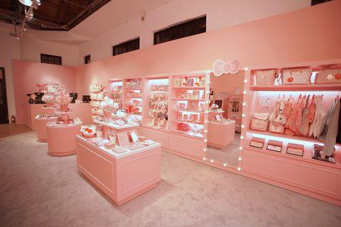 Pink, Interior design, Building, Display case, Peach, Room, Boutique,