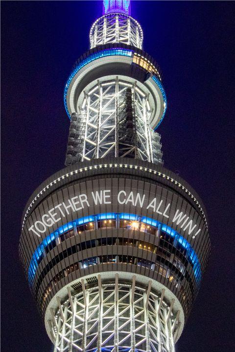 日本齊心抗疫逐漸解禁!東京晴空塔點燈:「together we can all win!」