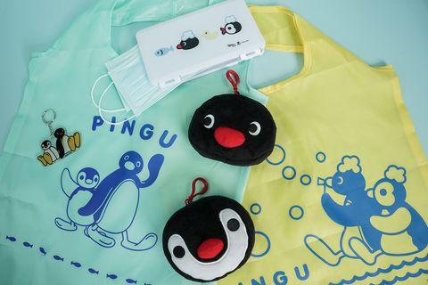 綠色和黃色的pingu購物袋