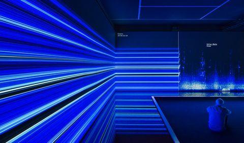 Blue, Cobalt blue, Light, Electric blue, Majorelle blue, Lighting, Architecture, Line, Design, Technology,