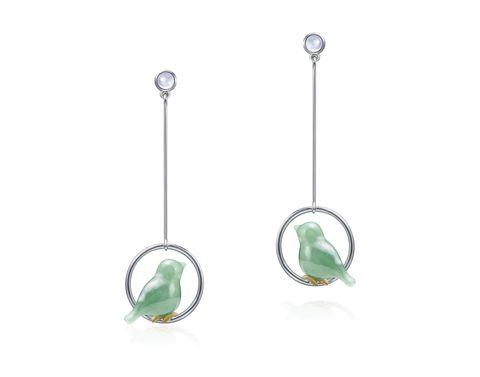 Green, Body jewelry, Earrings, Jewellery, Fashion accessory, Jade, Gemstone, Metal,
