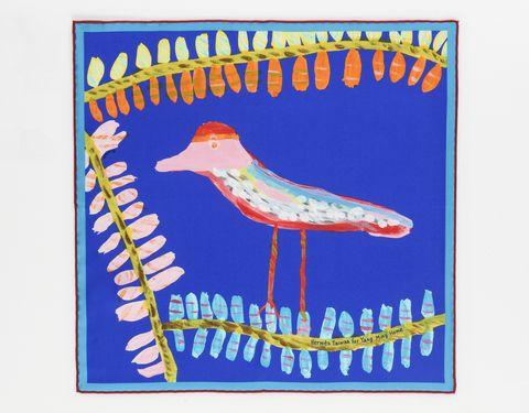 HERMÈS, 台灣限量版絲巾, 愛馬仕, 絲巾義賣, 八色鳥絲巾, 周帝全, 周帝全絲巾創作