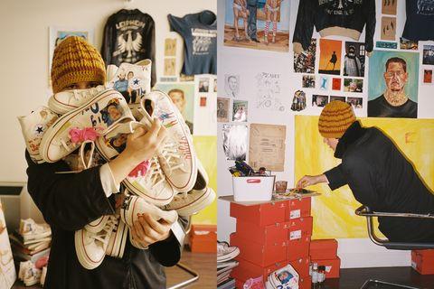 藝術家 spencer 全程待在家創作converse聯名插畫球鞋。