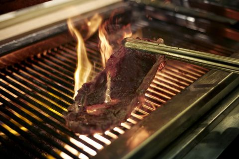 Barbecue, Grilling, Barbecue grill, Rack of lamb, Flat iron steak, Dish, Roasting, Food, Outdoor grill, Cooking,