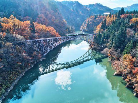 Water resources, Nature, Water, River, Natural landscape, Bridge, Arch bridge, Sky, Reflection, Leaf,