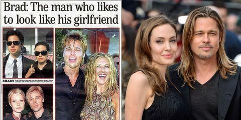 布萊德彼特上熱搜,竟是被全球網民調侃!因為他每段時期都「長得太像他當時的女友」了啦!