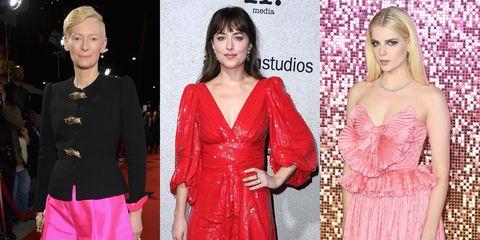 Clothing, Fashion model, Pink, Dress, Red, Hairstyle, Fashion, Carpet, Shoulder, Red carpet,