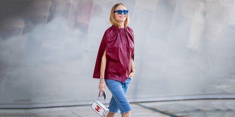 Clothing, White, Street fashion, Pink, Fashion, Blue, Eyewear, Outerwear, Jeans, Jacket,