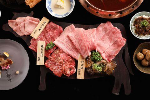 Dish, Food, Cuisine, Kobe beef, Yakiniku, Ingredient, Meat, Matsusaka beef, Samgyeopsal, Japanese cuisine,