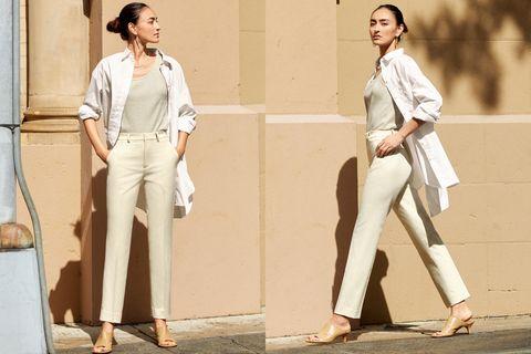 Uniqlo EZY米色九分褲搭配同色系上衣、外套,休閒不失正式感 工作面試都適合。