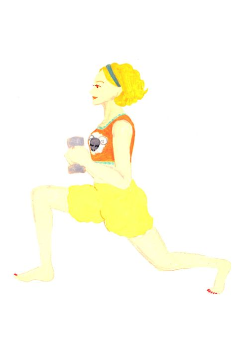 Cartoon, Yellow, Illustration, Lunge, Leg, Knee, Exercise, Fictional character, Physical fitness, Art,