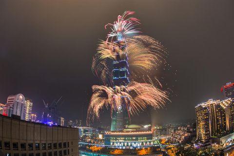 Fireworks, Metropolitan area, Cityscape, Skyscraper, City, Landmark, New Years Day, Urban area, Night, Metropolis,