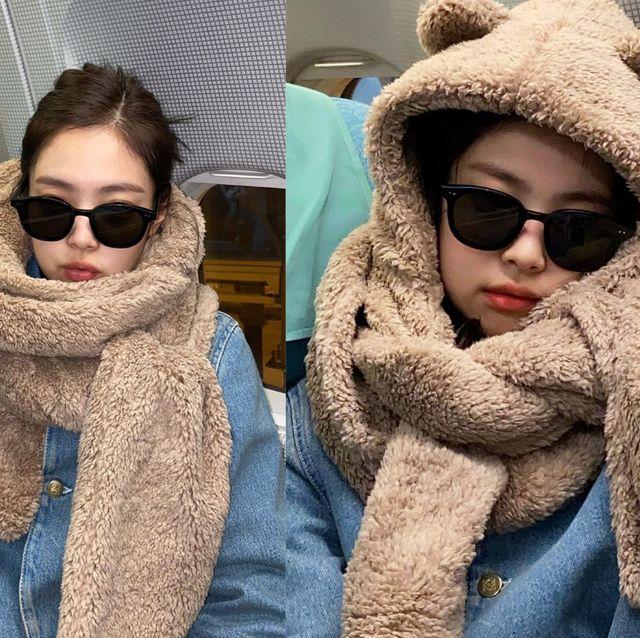BLACKPINK Jennie「珍妮小熊」機場穿搭太萌成熱搜!看完也想來款泰迪熊圍巾