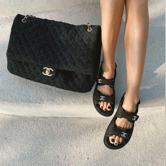 香奈兒chanel 黑色涼鞋