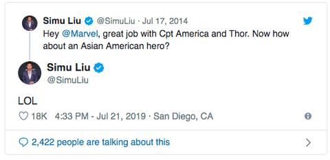 劉思慕在Twitter上的發文促成了漫威開始規劃亞洲英雄的計畫