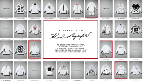 卡爾團隊發起Tribute to Karl活動,與名人們聯名設計卡爾拉婓格( Karl Lagerfeld)生前最愛的白襯衫