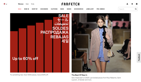 超人氣購物網站Farfetch一點開首頁就可以找到促銷專區,超過6000樣商品最低提供4折優惠。