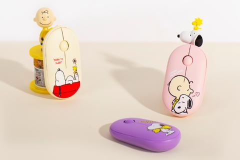 黃色、紫色、粉色的無線滑鼠