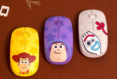 黃色、紫色、粉色的玩具總動員無線滑鼠