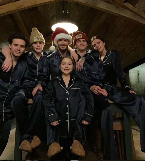 大衛貝克漢一家人過聖誕節 睡衣穿搭