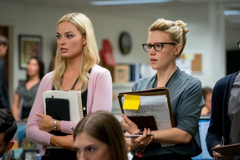 margot robbie as 'kayla pospisil' and kate mckinnon as 'jess carr' in bombshell photo credit hilary bronwyn gayle