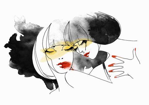 Illustration, Cartoon, Graphic design, Art, Fashion illustration, Drawing, Black hair, Graphics, Sketch,