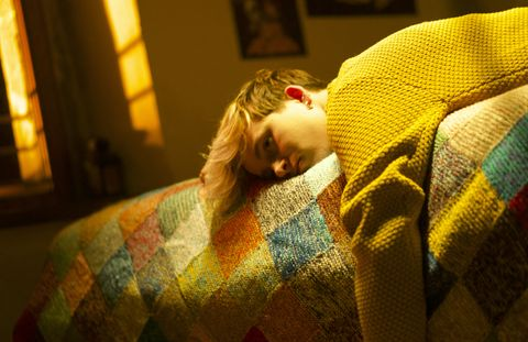 Yellow, Room, Textile, Photography, Sporting Group, Linens, Couch, Furniture, Child, Bed,