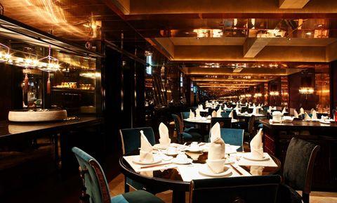 Restaurant, Building, Interior design, Room, Table, Architecture, Bar, Business, Café, Organization,