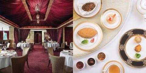 Table, Room, Restaurant, Interior design, Breakfast, Tableware, Ceremony, Food, Brunch, Building,