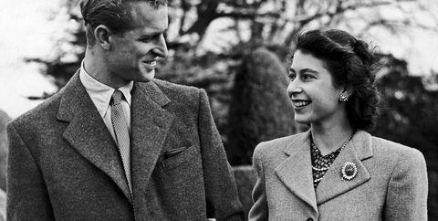 Princess Elizabeth and the Duke of Edinburgh arm in arm. 28th November 1947.