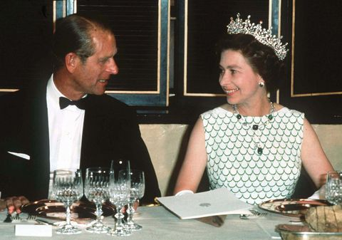 queen elizabeth ii and prince philip, the duke of edinburgh at a state banquet
