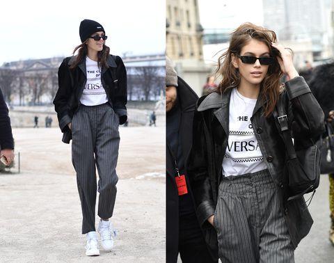 Clothing, Street fashion, Jacket, Fashion, Jeans, Outerwear, Snapshot, sweatpant, Footwear, Leather,