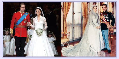 prince william, duke of cambridge and catherine, duchess of cambridge royal wedding principess grace kelly in her wedding dress prince rainier of monaco