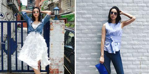 Clothing, White, Jeans, Blue, Dress, Shoulder, Street fashion, Denim, Fashion, Cobalt blue,
