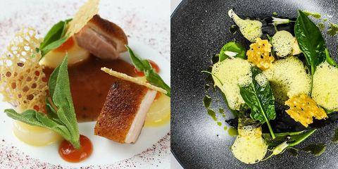 Dish, Cuisine, Food, Ingredient, Garnish, À la carte food, Produce, Recipe, Foie gras, Meat,