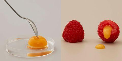 Food, Yellow, Fruit, Strawberries, Plant, Strawberry, Dessert, Frozen dessert, Sweetness, Cuisine,