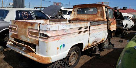 1962 Chevrolet Corvair 95 Rampside in Arizona Junkyard