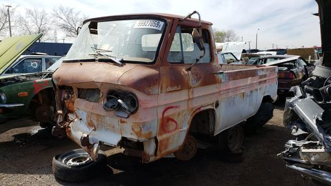 1962 Chevrolet Corvair 95 Rampside Pickup in Arizona Junkyard