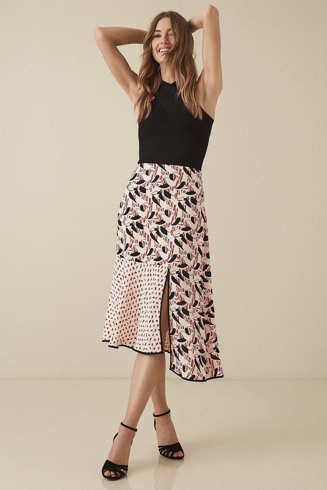 Reiss Eline printed midi skirt