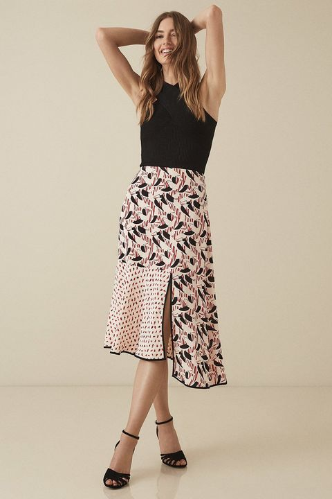 Reiss Eline printed midi skirt
